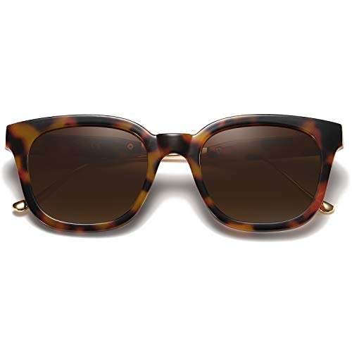 SOJOS Classic Square Polarized Sunglasses Unisex UV400 Mirrored Glasses SJ2050 with Tortoise Frame/Brown Polarized Lens