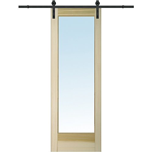 National Door Company Z020176 Barn Door Unit, Unfinished Poplar Wood, 1 Lite, Clear Glass, 36'' W x 96'' H by National Door Company