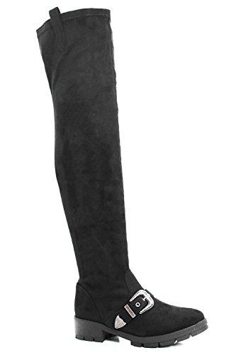 Damen Schwarz Tia Flache, elastische Overknee-Stiefel mit Profilsohle und Schließe Schwarz