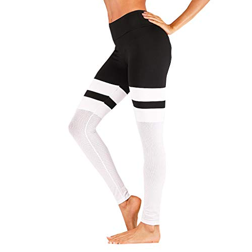 (FEDULK Womans Yoga Trousers High Waist Sport Activewear Gym Elastic High Waist Legging Pants(White, US Size M = Tag L))