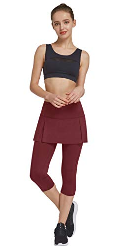 HonourSex Womens Capri Skirt Yoga Workout Casual Skirted Leggings with Pockets, Jogging Golf Biker Athletic Tennis Skorts Burgundy -
