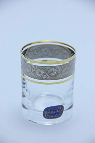 by Bohemia 2oz/60ml Heavy Base Shot Glass Set of 6 for Whiskey, Tequila, Espresso, Vodka, Shooters, Liqueur Tasting Czech Exclusive Decor Super Clear Tumbler Decorated with GOLD and PLATINUM