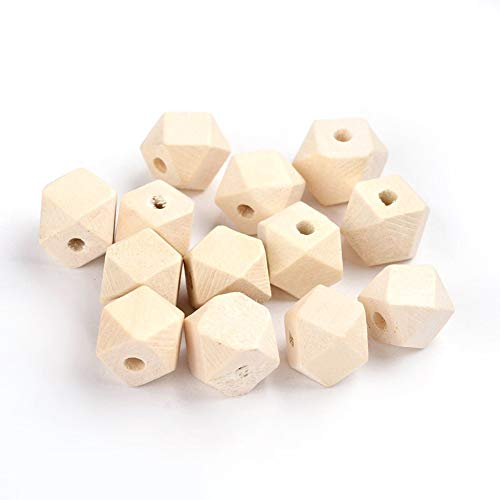 - Pandahall 20pcs 12x12x12mm Nature Polygon Wood Beads 4mm Original Color Wood Grain Large Hole Loose Spacer Beads Lead Free for Jewelry Making Beading Supplies