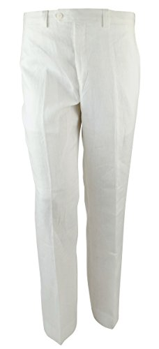LAUREN RALPH LAUREN Men's Flat Front Linen Dress Pants-W-33Wx32L White