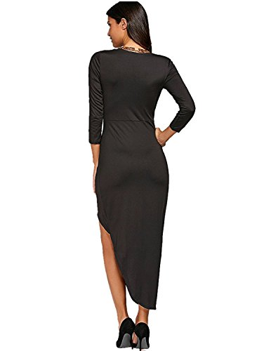 Playa nbsp;Casual Largo nbsp;Irregular GAMISS Negro Dress Falda 4 Vestido V S Cuello Mujer XL 3 Dobladillo Mangas 1RRfwx