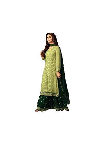 ziya Indian/Pakistani Ethnic wear Georgette Plaazo Salwar Kameez (Light Green, M-40)