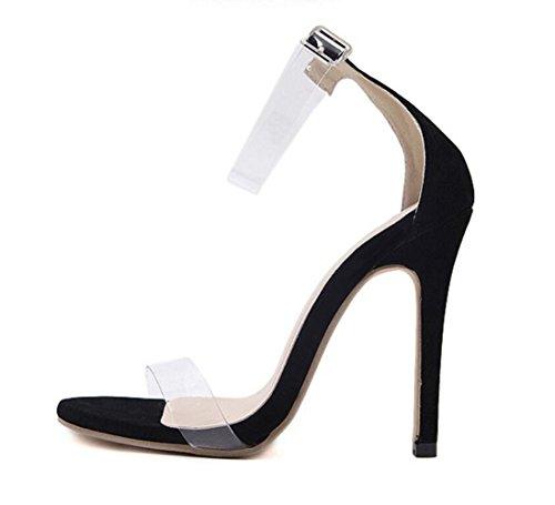 LINYI New T-Strap Buckle Open Toe Stiletto Heels Women's Sandals Transparent Suede Black 3UDh0Z