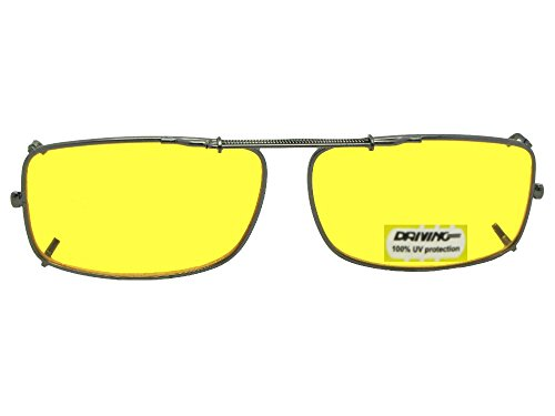 Slim Rectangle NON Polarized Yellow Lens Clip On Sunglasses (Pewter-NON Polarized Yellow Lens, 54mm Width x 33mm - Lens Glass Polarized Sunglasses