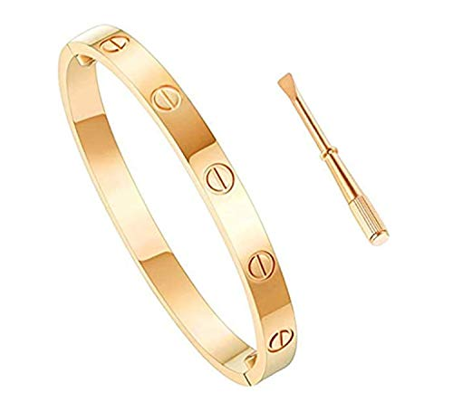 - Love Bracelet Stainless Steel Cuff Bangle Titanium Steel Screws Womens Bracelet (Gold, 17)