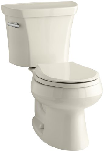 Kohler K-3997-T-47 Wellworth Round-Front 1.28 gpf Toilet, Tank Locks, -