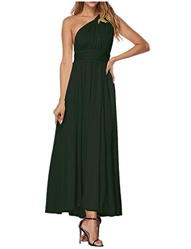 SELUXU Vestido de Las Mujeres de Alta Cintura Convertible Multi-Forma Abrigo Dama de Honor Formal Largo Vestidos Maxi Transformador/Infinito Vestido Verde