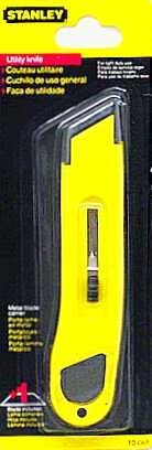 Stanley Plastic Light-Duty Utility Knife w/Retractable Blade, Yellow (Knife Bostitch Utility Stanley)