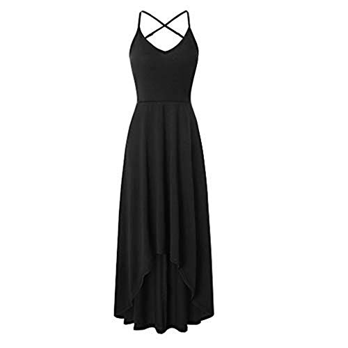 【HebeTop】 Women's Sexy Halter V Neck Dress Solid Backless Beach Dress - Peasant Voile Top