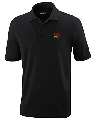 Ohio State Flower Embroidery Adult Button-End Spread Short Sleeve Unisex Polyester Performance Polo Shirt Golf Shirt - Black, 5X Large