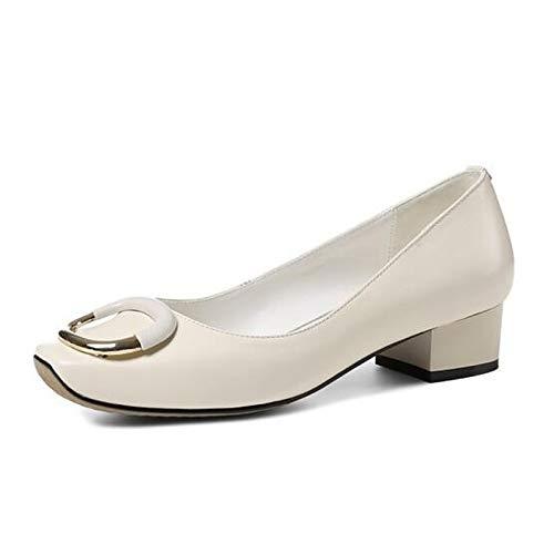 Shoes Chunky Leather Basic White Heel QOIQNLSN Fall Black Pump Nappa White Silver Women'S Heels Hw5q5Bf