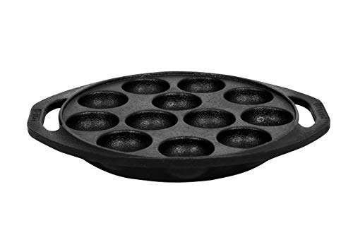 Dynamic-Cookwares-Premium-Cast-Iron-12-Cavity-Mini-PaniyaramPadduPonganalu-PanKalluChatti-Pre-Seasoned-Induction-Compatible-Black