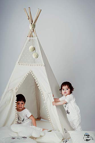 Boho Teepee Tent for Kids with Poles, Kids Teepee Tent, Handmade Indoor Play Tent
