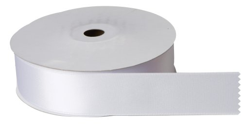 Jillson Roberts Bulk 1-1/2-Inch Double Faced Satin Ribbon, White, 50 Yard Spool (BFR1124)
