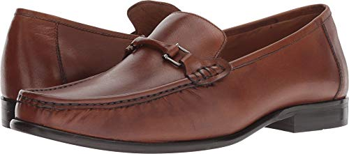Calfskin Leather Loafers - Carlos by Carlos Santana Men's Milagro Bit Loafer Cognac Calfskin Leather 9.5 D US