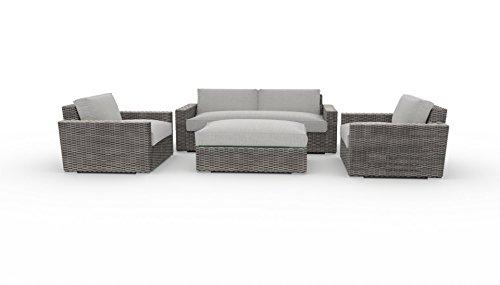 Toja Turo Outdoor Patio Sofa Set (4 pcs) | Wicker Rattan Body with Sunbrella Cushions (Full Round Wicker/Cast Silver)