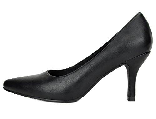 DREAM PAIRS Womens Comodo Low Heel Stiletto Pump Shoes Black Pu Kk2sVM