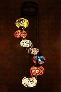 lampara turca de techo mosaico de 5 globos: Amazon.es ...