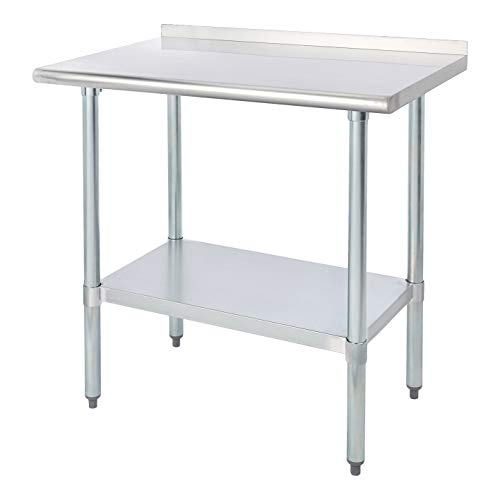 ROCKPOINT Stainless Steel Table for Prep & Work with Backsplash 36×24 Inches, NSF Metal Commercial Kitchen Table with…