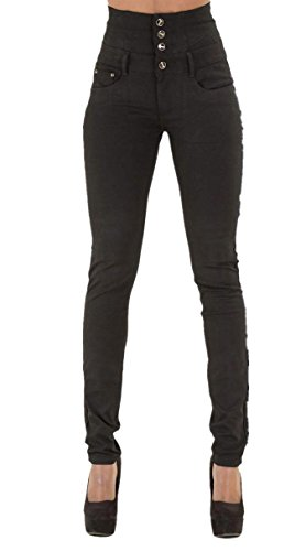 GALMINT Women's Juniors High Rise Irresistible Jegging Pull-On Stretch Skinny Jean, Black, US 8-10