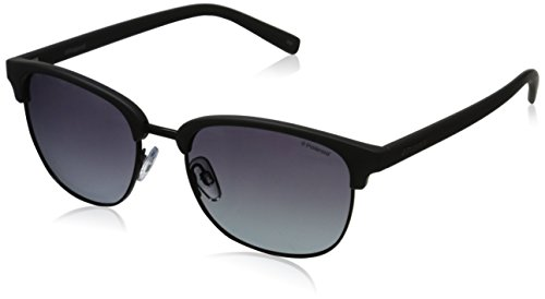 Polaroid Sunglasses Pld1012s Polarized Round Sunglasses, Shiny Black/Gradient Shaded, 54 - Shaded Sunglasses