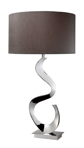 Dimond D1820 16-Inch Width by 30-Inch Height Morgan Table Lamp in Chrome with Grey Faux Silk Shade - Heights Buffet
