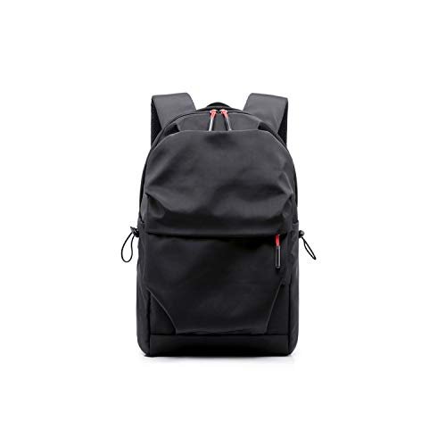 (New Men Laptop Backpack Large Capacity Student Backpacks Pleated Casual Bag Water Repellent,trade edition black,15 Inches)