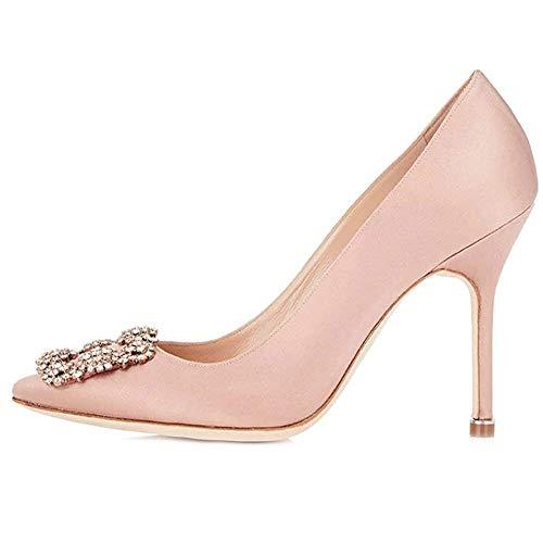 Amarantos Women's Pointed Toe Diamonds Jeweled Satin Wedding Party Evening Dress Stiletto Heel Shoes Pink Size 7.5
