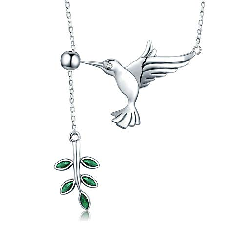 ASHIJIN 925 Sterling Silver Spring Bird & Tree Leaf Leaves Dangle Pendant Necklace for Women Silver Jewelry