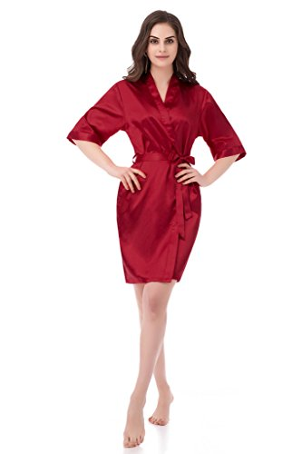 [gusuqing Women's Pure Color Short Kimono Robe Sleeve Bridesmaid Robe Burgundy 35 XL] (Red Robe)