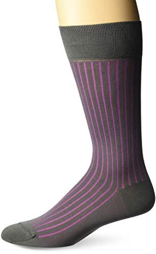 Herringbone Stripe Socks - Zanella Socks Men's Z9034, Grey/Pink, 10-13
