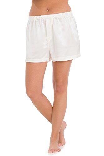 - Fishers Finery Women's 100% Mulberry Silk Boxer; Lounge Shorts (Ivory, XS)