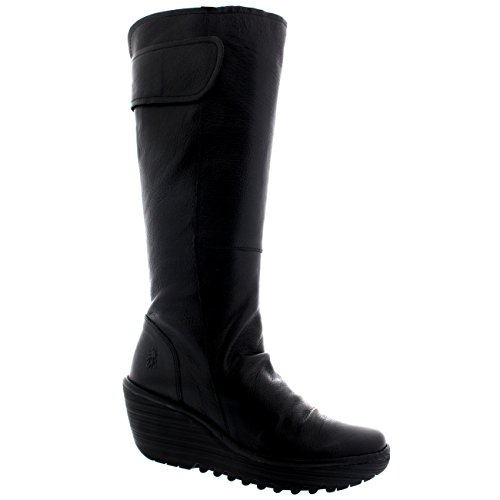 Womens Fly London Yulo Wedge Heel Leather Fashion Knee High Winter Boots - Black - 10 by FLY London