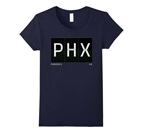 Womens PHX Phoenix Arizona US World Traveler T Shirt Medium Navy (Arizona Phoenix Airport)
