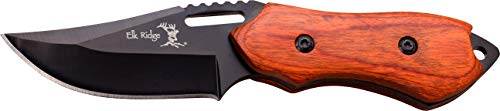 - Elk Ridge - Outdoors Fixed Blade Knife - 6-in Overall, 3-in Black Stainless Steel Blade, Brown Wood Handle, 1680D Nylon Sheath - Hunting, Camping, Survival - ER-562WD