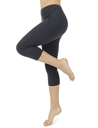 dee89c0df4 iooho Women's Yoga Capris Workout Leggings Running Capri Pants with Pockets (Charcoal,S)
