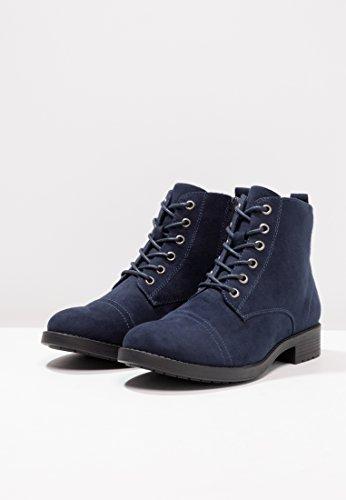 Anna Field Bottines plates pour femmes en noir, gris ou bleu marine - Bottines à lacets femme effet cuir suédé - Boots montantes pour femme en daim casual chic Bleu Marine
