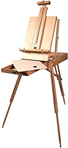 GPCT [Foldable] Portable Classic [Hand-Finished] Wooden Artist Painters Easel Tripod. Adjustable, Built in Drawer W/ [Four Compartments] & FREE Wooden Palette! Suitable for (Aluminum Painters Easel)