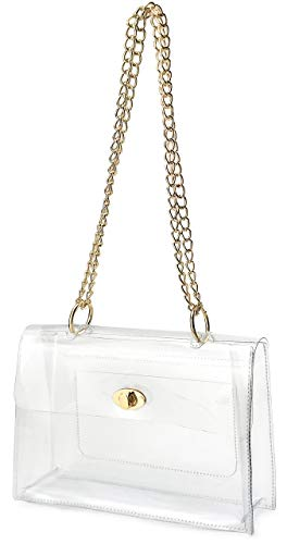 Women Clear Flap Top Chain Shoulder Handbag with Turn Lock Minimalist Messenger Purse for Stadium Approved (Clear) ()