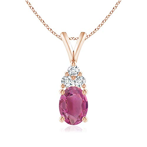(Mother's Day Gifts - Oval Pink Tourmaline Solitaire Pendant with Trio Diamond in 14K Rose Gold (8x6mm Pink Tourmaline))