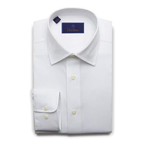 (David Donahue Mens Regular Fit Long Sleeve Twill Dress Shirt,White,18.5