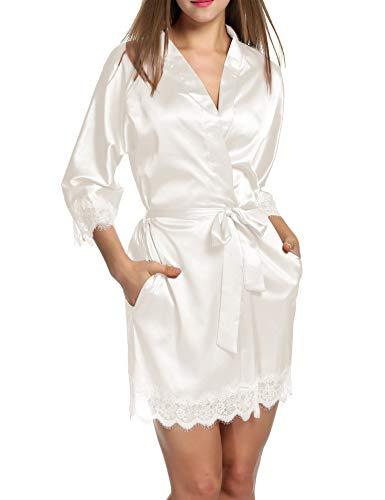 - Hotouch Women's Bride Bridesmaids Robe Satin Wedding Kimono Bridal Dressing Gown Sleepwear White L