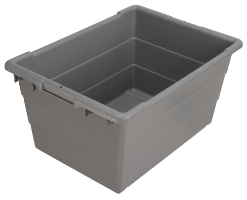 Akro-Mils 34304 Cross-Stack Plastic Tote Tub, 24-Inch by 17-Inch by 12-Inch, Case of 6, Grey by Akro-Mils