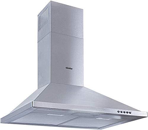 Campana extractora de acero inoxidable, 60 cm, 400 m³/h, campana de pared, chimenea telescópica, doble conducto de escape, iluminación LED, Simfer SMF-CH 8662
