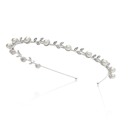SWEETV Pearl Bridal Headband Silver Rhinestone Tiara Wedding Hair Band Flower Head Pieces Jewelry Accessoires