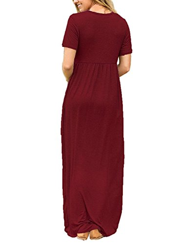 Plain Maxi Sleeve Amstt Pockets Casual Dresses Red Short with Women Wine Dresses Long Loose xwBqZXIq